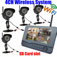 digital wireless Outdoor Home IR security camera WIFI 7inch lcd Monitor SD Card video Suveillance recording 4CH USB DVR system