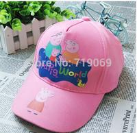 Kids New Summer Girls Boys REN pink Hats peppa pig George Pig Hats Baseball Caps  Children Hat Baseball Caps