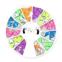 Wheel Colorful Triangle Shape Rivet Nail Art Decorations 24#