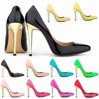 2014 explosion models pointed spell color gold with super high heels shallow mouth thin heels  for women us 4-11