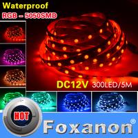 Foxanon Brand 5050 Led Strip RGB 60LED/M 5M 300LED Flexible light Waterproof White/Warm White Red Green Blue,RGB 12V 5M/Roll
