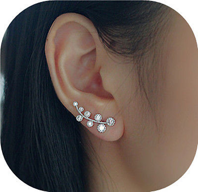 2Pcs flower 925 sterling silver stud earring Lot Ear Sweep Wrap branch Crystal Earring(China (Mainland))