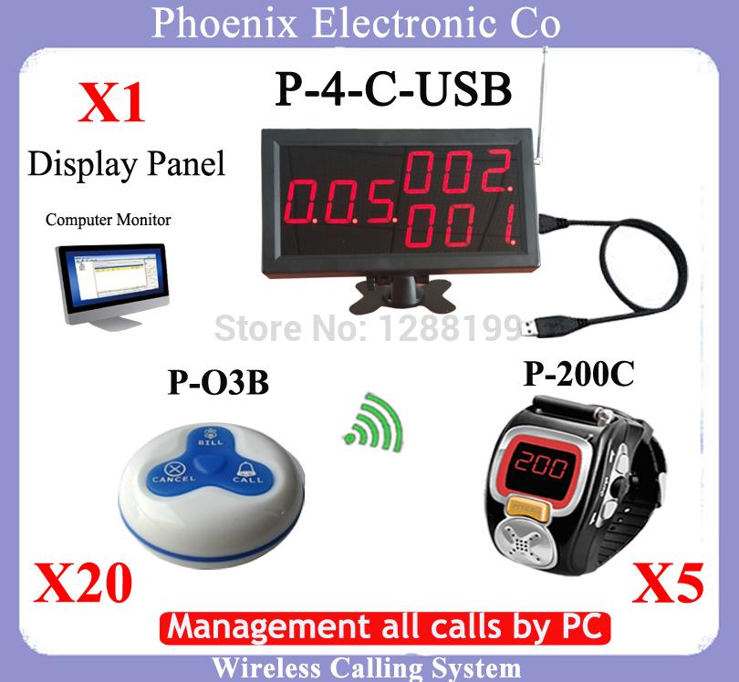 315mhz Wireless Call Bell System Wireless Waiter Call System Waiter Calling System,Manager All Call Through PC(China (Mainland))