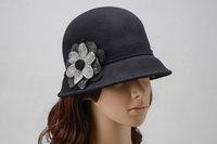 Autumn and Winter Elegant Women's Fashion Cap Ladies Flower Rose Bucket Hat Women Small Fedoras Hats Headwear wedding church cap