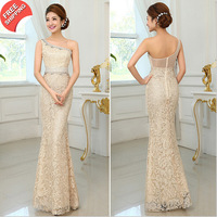 Hot Sale Sexy Sheath One-Shoulder Beaded Lace Long Evening Dress Party Gown Free Shipping NSD-0057 Vestido De Festa