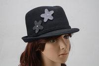 Woman Wool Woolen Felt Hat Autumn and Winter Fedoras Vintage Church Hat fashion warm dress hat for lady girls design flower hats