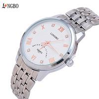 100% Quality Guarantee! LONGBO Brand Fashion Luxury Men Business Watches Movement Waterproof Stainless Steel Quartz Watch
