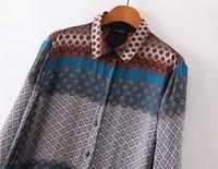 2014 Autumn New Fashions Street Fashion Retort Tribal Printed Lapel Collar Blouse Shirt for Women Cotton Blend Sale