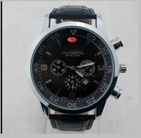 2014 men's Wristwatches leather strap fashion watch clock military quartz watches men relojes relogio free shipping
