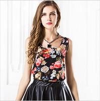 2014 New Fashion Candy Colors Sleeveless Chiffon Blouse Casual Loose Women Slim Vest Tank Top Sale Lady Vest S-3XL