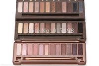 1pcs Hot 2014 new  Makeup Glitter Eyeshadow Palette Cosmetics Latest 12 Color NK1 NK2 NK3 NK5 Brand eye shadow Brush Make up Set