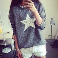 Autumn 2014 New Star print sweatshirt Women hoody pullover Long sleeve 4 color choose