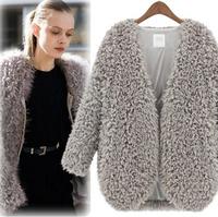 2014 New Women Autumn Winter Lamb fur short coat plush warm cardigans sweater casual feminino