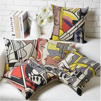 Creative Ikea color POP Art Roy abstraction Linen Cotton Cushion cover Linen Pillow cover pillowcase home decorate sofa cushions