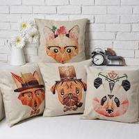 IKEA Creative Cute animals Children's cartoon Pillow Cushion cover Linen Pillow cover pillowcase home decorate sofa cushions