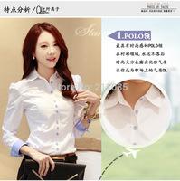 D50 2015 Cotton Long-Sleeved White Shirt Women New Fashion Slim Thin Long-Sleeved Shirt Big Yards Ladies Wear Tide