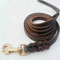 Free shipping imported leather leash pet leash leather dog leash chain large dog German Shepherd Dog Golden Retriever