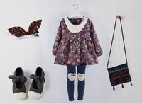5pieces/lot, Autumn Winter long sleeve Floral Fur Baby Girls Dress Children Dresses, blue/red, A-bg243