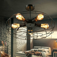 Loft RH American Rural Industrial Style Creative Designers Electric Fan Retro Ceiling Light XDC-220 Free Shipping