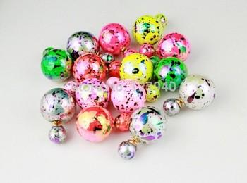 Бесплатная доставка -- высокое качество винтаж большой маленький шарик жемчуг элегантная дама мода двухлобной серьги конфеты цветов