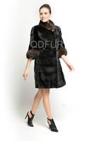New Women's Genuine Natural Mink Fur Coat Jacket Female Fur Outerwear 2014 Winter Garment Half Sleeve QD70785