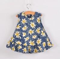 5pieces/lot,  Summer Sleeveless Floral Demin Baby Girls Dress Children Demin Dresses, blue/red, A-bg246