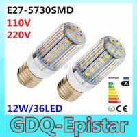 3pcs 5730 SMD 36LED 12W E27 E14 110V 120V 220V 230V 240V Corn Bulb Light  Lamp LED Lighting Warm/Cool White Stripes cover