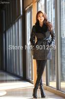 2014 fashion  women slim patchwork fur long jacket woolen winter coat