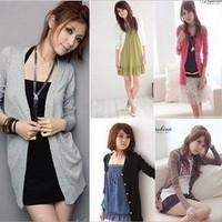 Women's T-Shirt / Free Size / 10 Color / Cotton / Long Sleeve / V*Neck / Women Sweater/knitwear Free Shipping