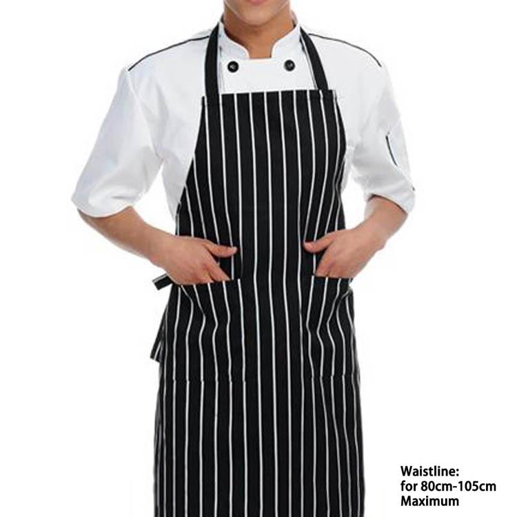 new Fashion Black And White Stripe Apron Bib For Men Lady Chef Bucher Kitchen Cook Apron Drio Shipping HG-10493(China (Mainland))