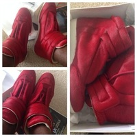 Maison Martin margiela sneaker Oxblood Calf Hair Hightop Velcro Sneakers Genuine Leather Kanye West Fashion Shoes Brand  Boots