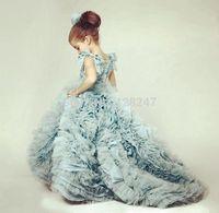 vestido de festa  winter little child dresses long train blue children fuffy flower girls dress for weddings RTT-0357