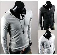 Free shipping casual t shirt men solid long-sleeve hooded sizes M-XXL 4 colors camisetas slim fits tshirt