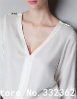 European Style Women's Long Sleeve V-neck Rivet Epaulette No deduction Hedging Loose Big Yards Chiffon Shirt Solid Color Shirts