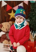 Free shipping knitted Scarf& hat set for 2~6 years kids winter scarf warmer hat Christmas gift