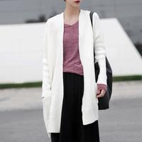 2014 fall fashion long warm sweater with neck women Sleeves White Cardigans Coat colete Cardigan feminino tricotado Knited Wear