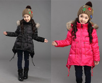 New arrival Girl's Medium Long Solid 80% White duck down Full sleeves Outer wear thicken Down Jacket girl's winter  coat