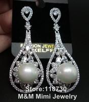 Luxury White Pearl and Clear AAA Cubic Zirconia Water Drop Earrings Elegant Bridal Wedding Jewelry