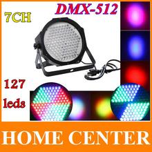 Profesional AC 90-240V 127 Efecto de luz LED RGB DMX512 Canal 7 Luces Par DMX 512 disco DJ Party la luz de la etapa de la UE o EE.UU. Plug(China (Mainland))