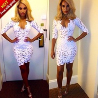 Free Shipping 2014 Celebrity Brand New Spring Women Bandage Bodycon Women Sexy Party Dress Cocktail dress MD f0010