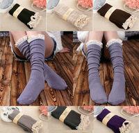 WIIPU Women Lace Trim Crochet Knit Foot Leg Warmers Boot Socks Knee High Stockings