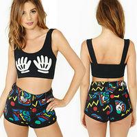 Women's Exclusive Hands Cartoon Print Sports Bra Sexy Touch Me Mickey Crop Top Punk Tank Vest