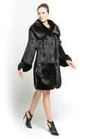 2014 Fashion Style Women's Genuine Real Mink Fur Coat Jacket Female Fur Outerwear Winter Long Garment QD70800
