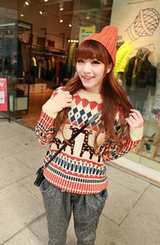 Восток вязание MY-017 2014 мода зима женщины с длинным рукавом вырез круглый воротник кашемировые пуловеры , соответствующие олень пара рождественские свитера