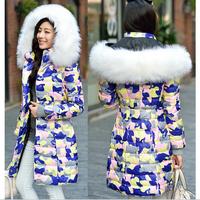 2014 New women winter jacket Large fur collar Knit cuffs Zipper Slim Thicken Camouflage Hooded coat Women duck down jacket