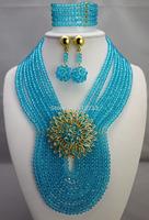 New Design Multistrand Nigerian Wedding Jewelry Set With Rhine   Flower Women African Beads Jewelry Set BJ15428
