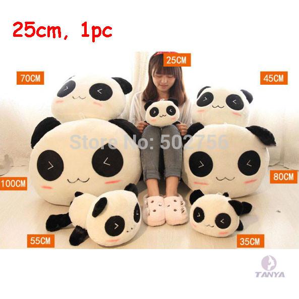 fashion stykle happy 1 PC Kawaii Plush Doll Toy Animal Giant Panda Pillow Stuffed Bolster Gift 25CM(China (Mainland))