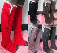 WIIPU Women Crochet Lace Trim Button Braid Knit Leg Warmers Boot Socks Knee High Socks