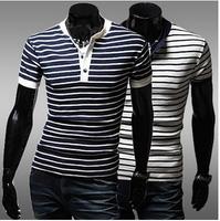 Free shipping 2014 brand summer casual t-shirt-men short sleeve v-neck classic striped casual-shirt