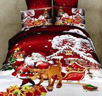 F004 100% cotton reactive print  3D bedding set 4 pcs of bedding one duvet cover+one bedsheet +2 pcs  pillowcase free shipping